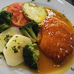 Salmon en salsa de mango y jengibre